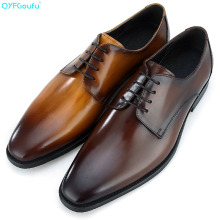 QYFCIOUFU 2019 Luxury Italian Handmade Oxford Shoes For Men Genuine Cow Leather Formal Made Wedding Office Dress