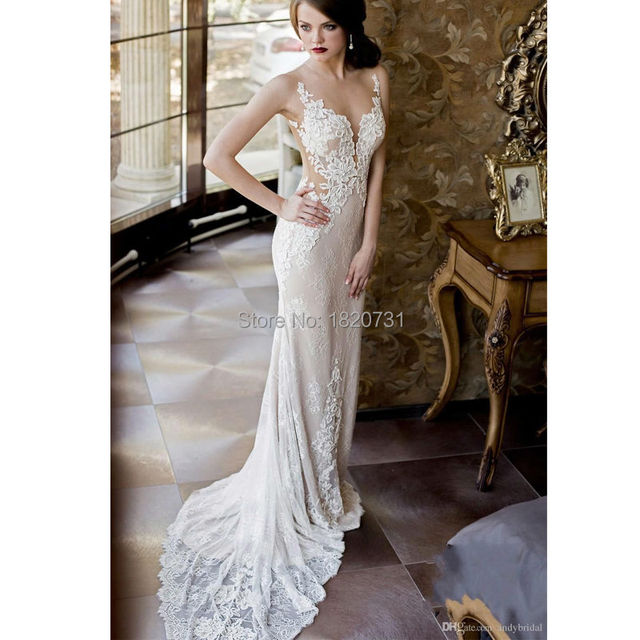a396e6c9eba2 2019 Lace Wedding Dresses with Detachable Skirt Mermaid Wedding Gowns  Backless Plunging Neckline Sexy New Arrival Bridal Gowns