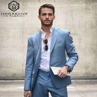 LN055 Phát Triển Blue Men Suits Groom Tuxedo Custom Best Men Wedding Ăn Mặc của Nam Giới Prom Chính Thức Phù Hợp Với 2 cái