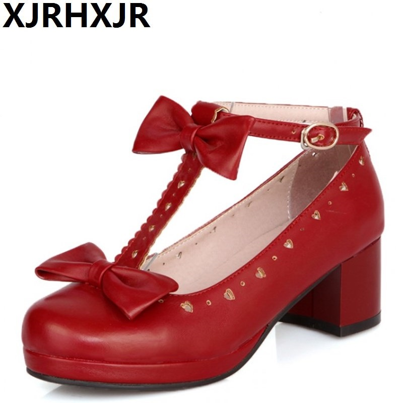 XJRHXJR Hot New Sweet T Cutout Bow Strap Round Toe Casual Thick Heel Single Shoes Cosplay and Lolita Shoes for Woman and Girl