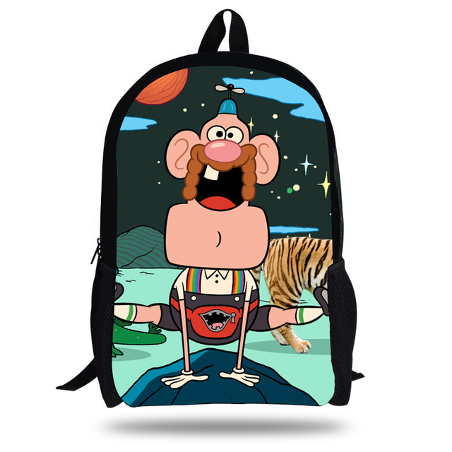 143742985065 16-Inch Fashion School Bag Cartoon Backpacks Child Uncle Grandpa Backpack  For Kids Bags Girls Backpack For Boys Teenagers