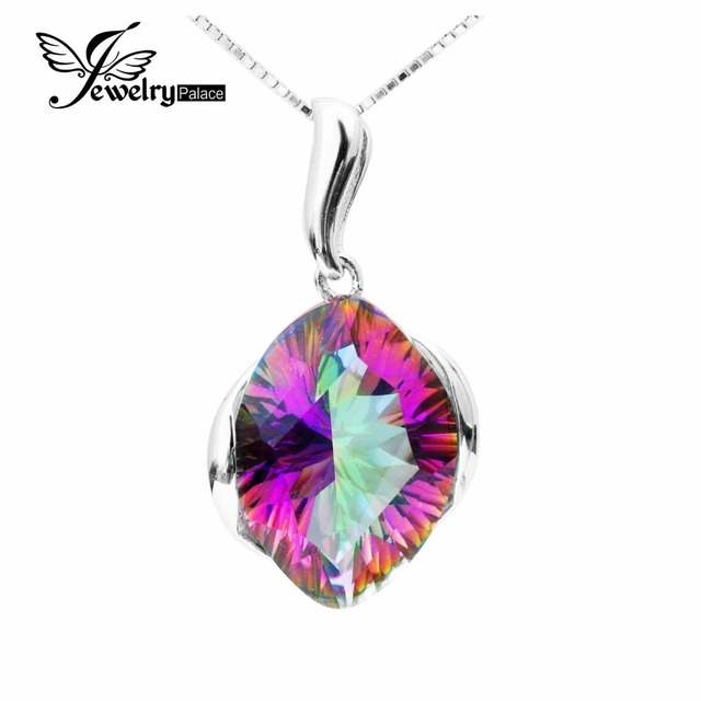 JewelryPalace Huge 11ct Genuine Rainbow Fire Mystic Topas Pendant Solid 925 Sterling Silver Fashion Jewelry For Best Friend