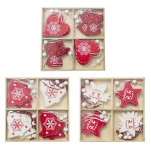 12pcs Wooden Snowflake Star with Small Bell Christmas Tree Decoration Merry Christmas Decorations for Home Hanging free shipping(China)