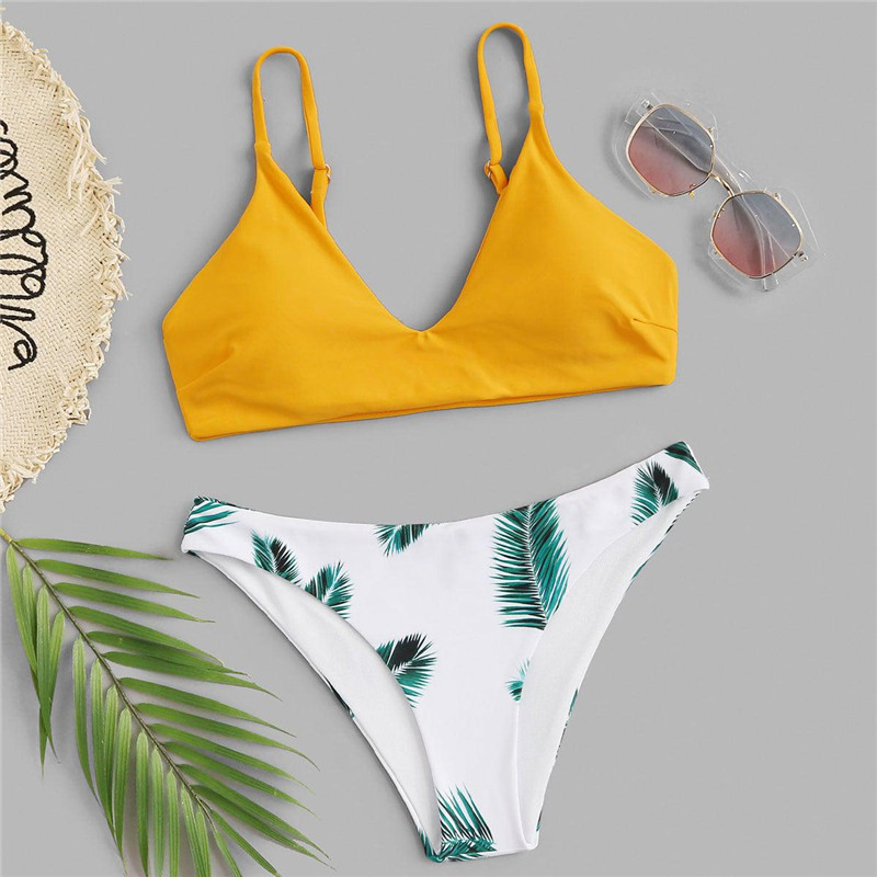 Plants Print Bottoms Bikini Set 10