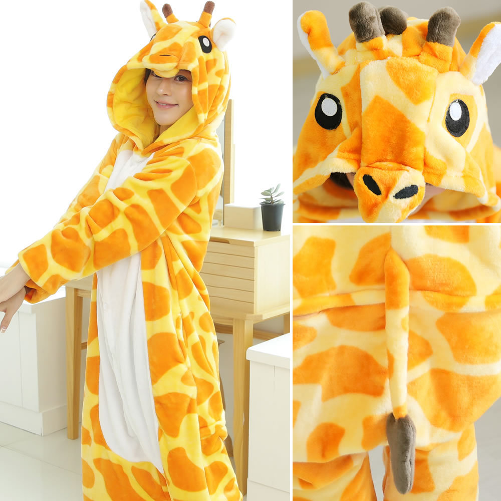 Adult Teenagers Kigurumi Warm Giraffe Funny Soft Onepiece Pijama Onesie Overall Sleepwear Tiger Flannel Women Jumpsuit BDAFE653
