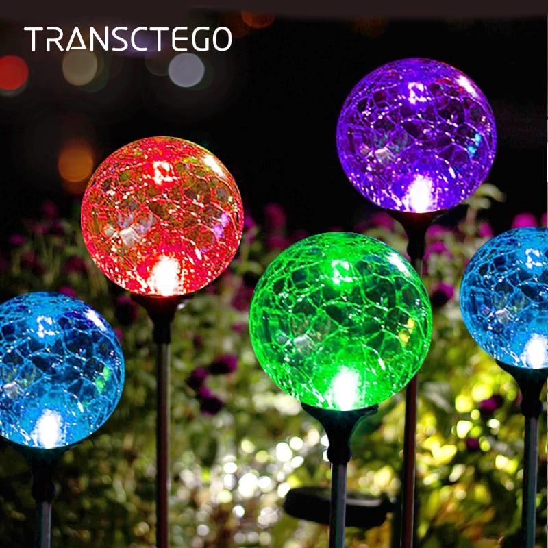luzes caminho solar crepitar de vidro globo lampada solar ao ar livre mudanca da cor da