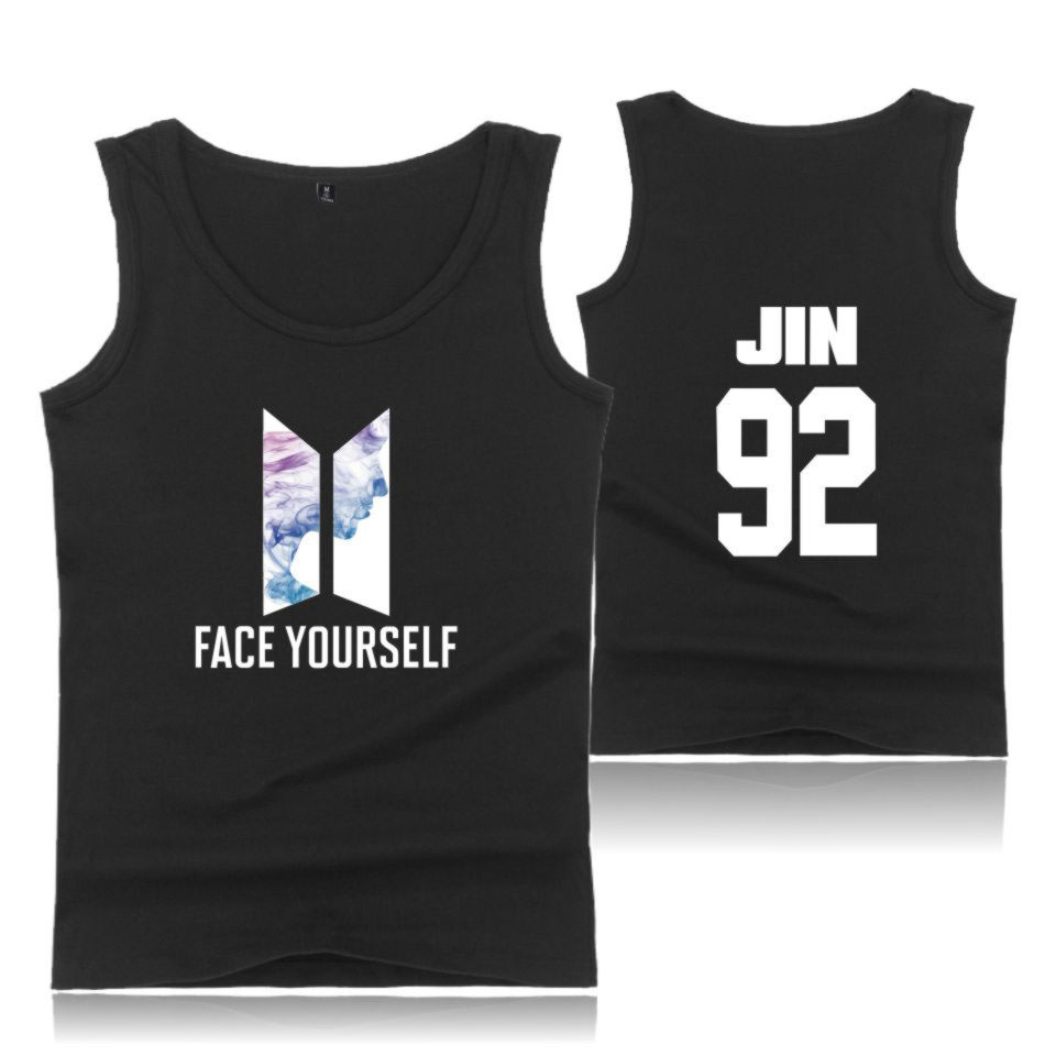 kpop FACE YOURSELF woman clothes   tank     tops   women summer FACE YOURSELF   tank     top   men bodybuilding mens cotton shirts