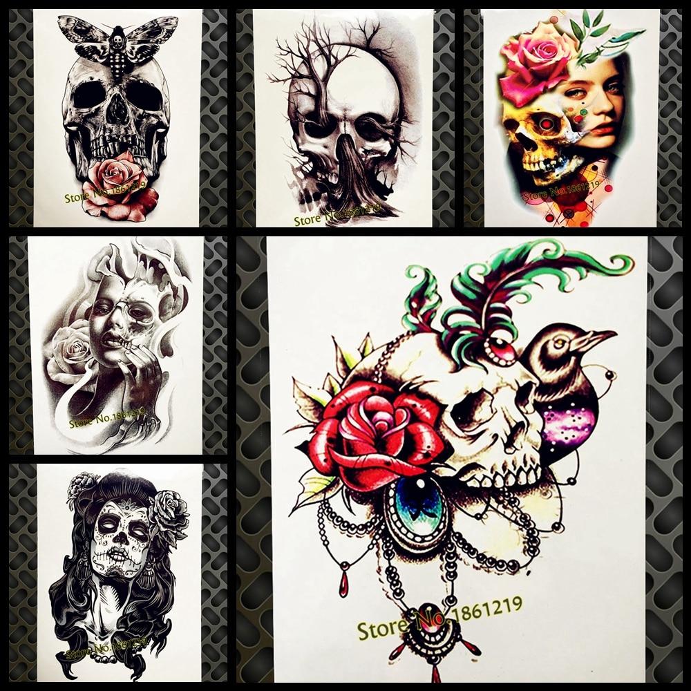 ᗕ3D mujeres tatuaje temporal Henna cráneo diamante Rosa flor ...