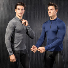 New Long Sleeve Sport Shirt Men Tights With Zipper Quick Dry  Men's Running T shirt Sportswear Mens T-shirts Fitness Rashgard