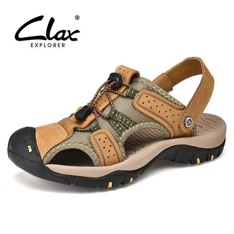 CLAX Mens Sandals 2019 Summer Leather Sandals Male Breathable Casual Shoe Soft Man Walking Footwear Big Size in Men 39 s Sandals from Shoes