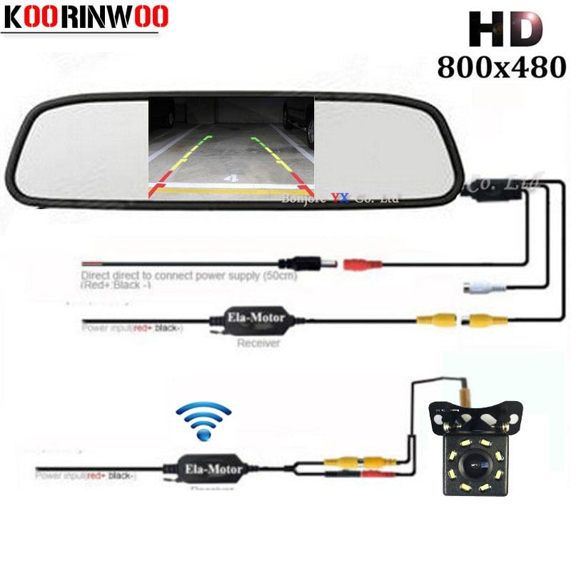 Koorinwoo Wireless HD CCD Parking System 8 LED Lights Car Rear View Camera 4.3 Car Monitor Mirror TFT LCD Video Display Vehicle