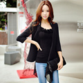 Black White Original 2016 Brand Coat Autumn Casual Plus Size Chain OL Slim Fashion Elegant Ruffled Blazer Women Wholesale