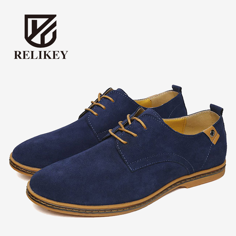 RELIKEY Brand Men Casual Handmade Shoes Cow Suede Male Oxfords Spring High Quality Genuine Leather Flats Classics Dress Shoes