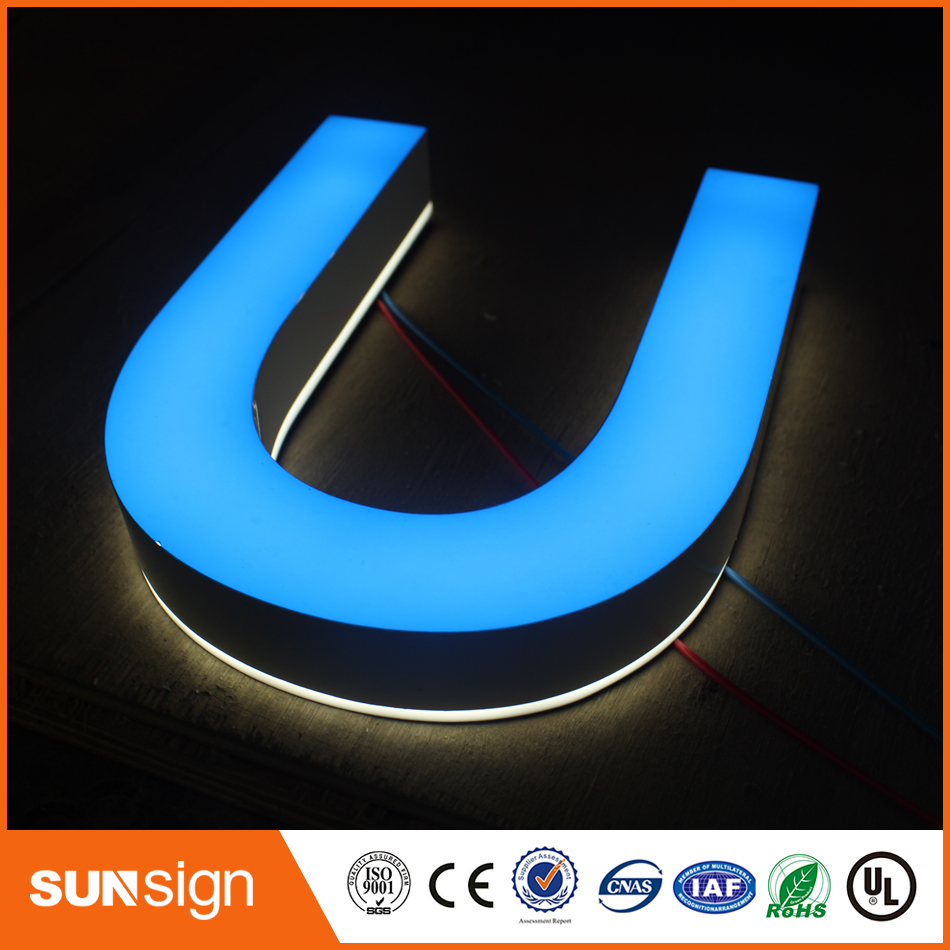 Personalized Double Sides Lighted Acrylic Illuminated Letters Reception Wall Letters And Raised Commercial Led Letters
