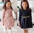 2016 новых Девушек платья для маленьких детей Фиолетовый розовые розы Новый Год принцесса Малыш Платье Девушки, малыш Брендовая одежда
