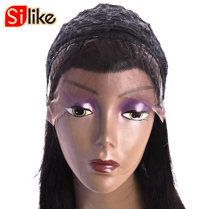 Silike 16 дюймов натуральный черный прямо Синтетический Frontal шнурка волос Искусственные парики для черный Для женщин низкая Температура Волокн...