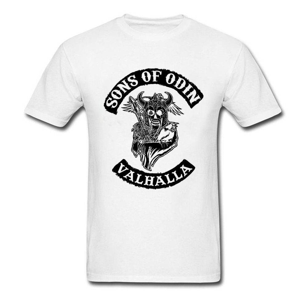 Sons Of Odin Valhalla T-shirt Vintage T Shirt Men White Clothing Warrior Tops Ancient God Tees Fitness Cotton Tshirts