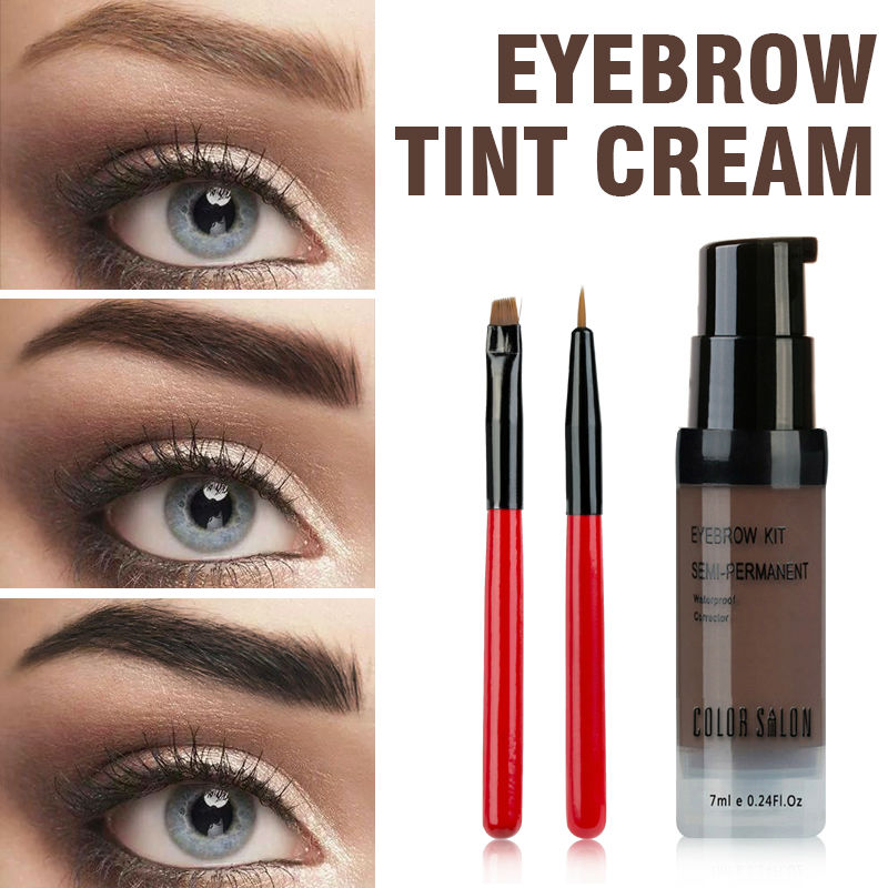 Color Salon Eyebrow Pomade 7ml Makeup Tint Brush Kit Brown Henna Eye Brow Gel Cream Make Up Paint Pen Set Enhancer Wax Cosmetic