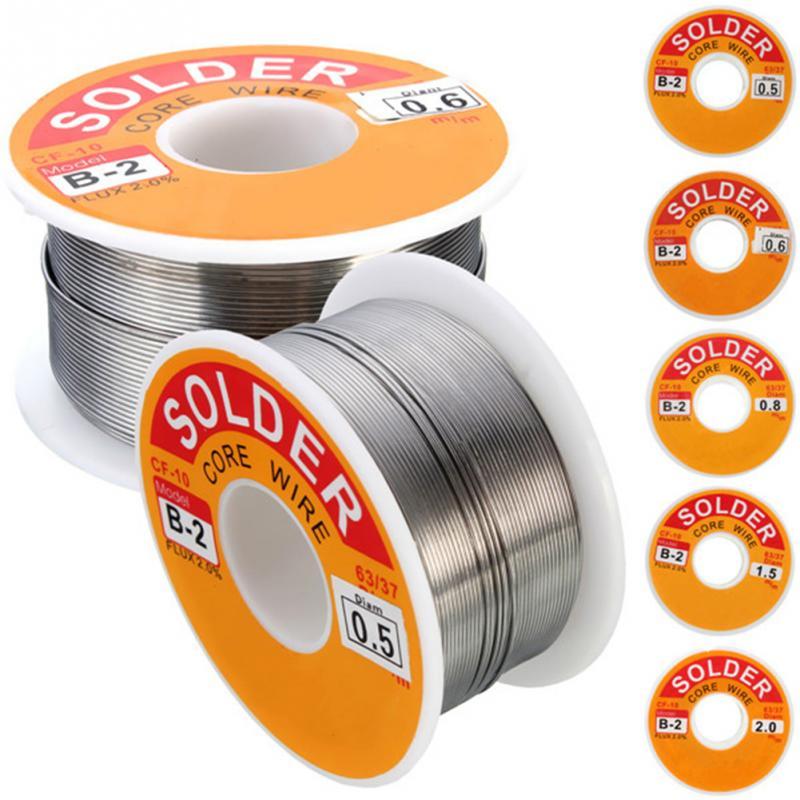 0.5/0.6/0.8/1.0/1.2/1.5/2mm 100g/roll 63/37 Tin Lead Alloy Rosin Core 2% Flux Reel Welding Line Solder Wire Clean Rosin Core~