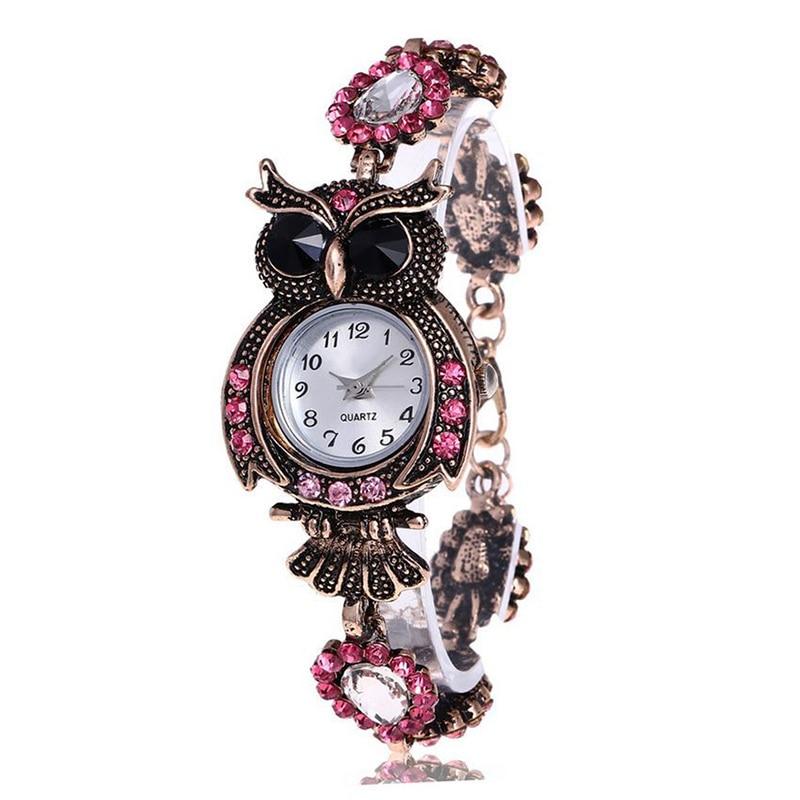 Vintage Women Rhinestone Owl Quartz Bracelet Watch Beautiful Wristwatch Girls Jewelry Gifts LXH марко рейнольдс кольца с кольцами красные кольца 48 цвет 49 штук цветные соединительные кольца
