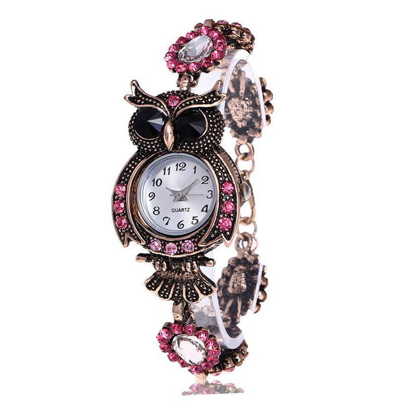 Vintage Women Rhinestone Owl Quartz Bracelet Watch Beautiful Wristwatch Girls Jewelry Gifts LXH professional school teaching medical microscope 100 kinds botany prepared slides