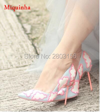 New Design Women Clouds Dress Pumps Sexy Pointed Toe Thin High Heels Wedding Shoes Woman Sapatos Femininos 35-41 sexy pointed toe high heels women pumps shoes new spring brand design ladies wedding shoes summer dress pumps size 35 42 302 1pa