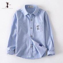 2019 Kung Fu Ant Original Design Spring 100% Oxford Cotton Boys Shirts  Blue White School Shirt 12T Big Childrens 3354