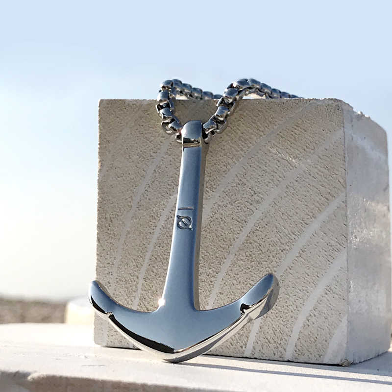 Mcllroy necklace men/stainless steel/chain/anchor/long/necklaces pendants for women mens punk link chain jewelry erkek kolye