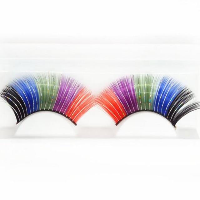 0621f769c48 1 Pair Fancy False Feather Eyelash Colourful Ablaze Colour Eyelash Pure  Manual Hyperbole Mixe Lubricious Stage False Eyelash