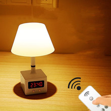 LED remote control desk lamp USB charging with clock table lamp dimmable bedroom bedside home night light недорого