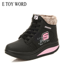 E TOY WORD 2019 Winter Women Water snow Boots New Fashion Woman Sneakers Plush Warm womens ankle boots Lace Up Shoes