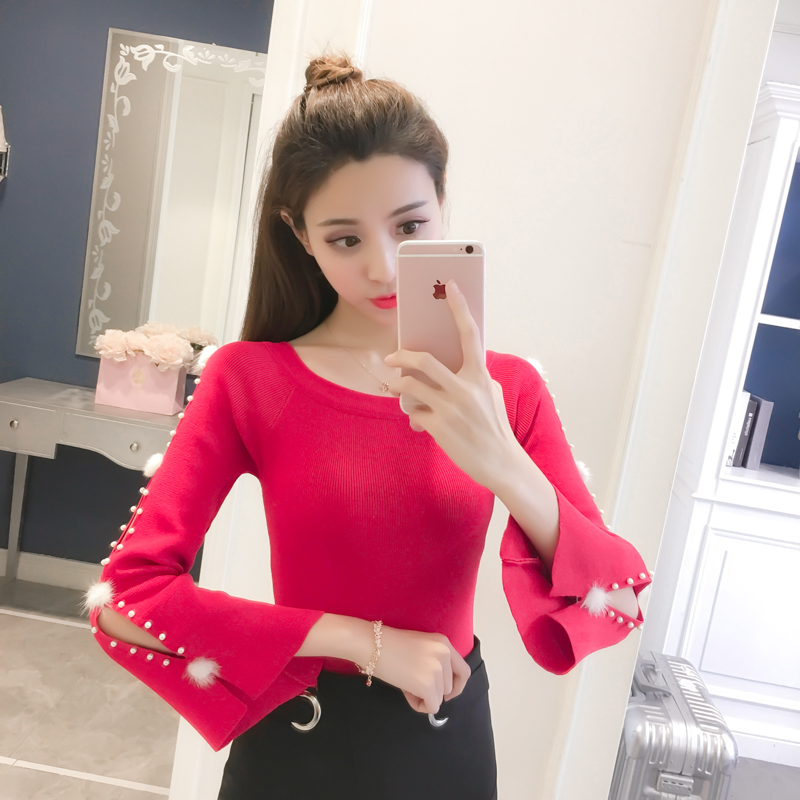 2018 New Autumn Preppy Style Women   Shirts   Knitting Slim Sweater   Blouse     Shirt   White Pink Red Black A110