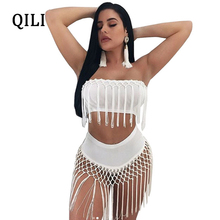 QILI Beach Bodysuits White Black Short Rompers Two Piece Set Off The Shoulder Sleeveless Tassel Bodysuit Women Sexy Party Wear black lace details off the shoulder short sleeves bodysuits