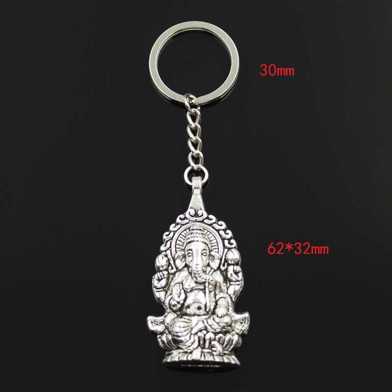 Chaveiro nova Moda 62x32 milímetros Ganesha buda elefante Pingentes DIY Homens Jóias Cadeia Chave Do Carro Anel Titular Souvenir para o Presente
