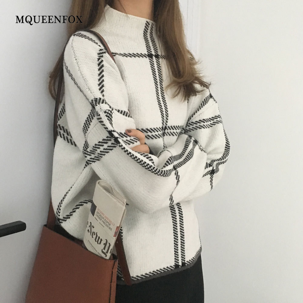 Winter Sweater Women Plaid Turtleneck Sweaters 2019 New Warm Long Sleeve Knitted Sweater Female Casual Loose Pullovers Mujer