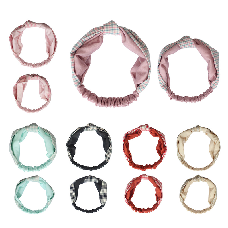 2pcs Baby Girls Tie Knot Turban Knotted Headbands Plaid Parent-child Hair Bands Cotton 6 Color Girls Pretty Mama Child Newborn
