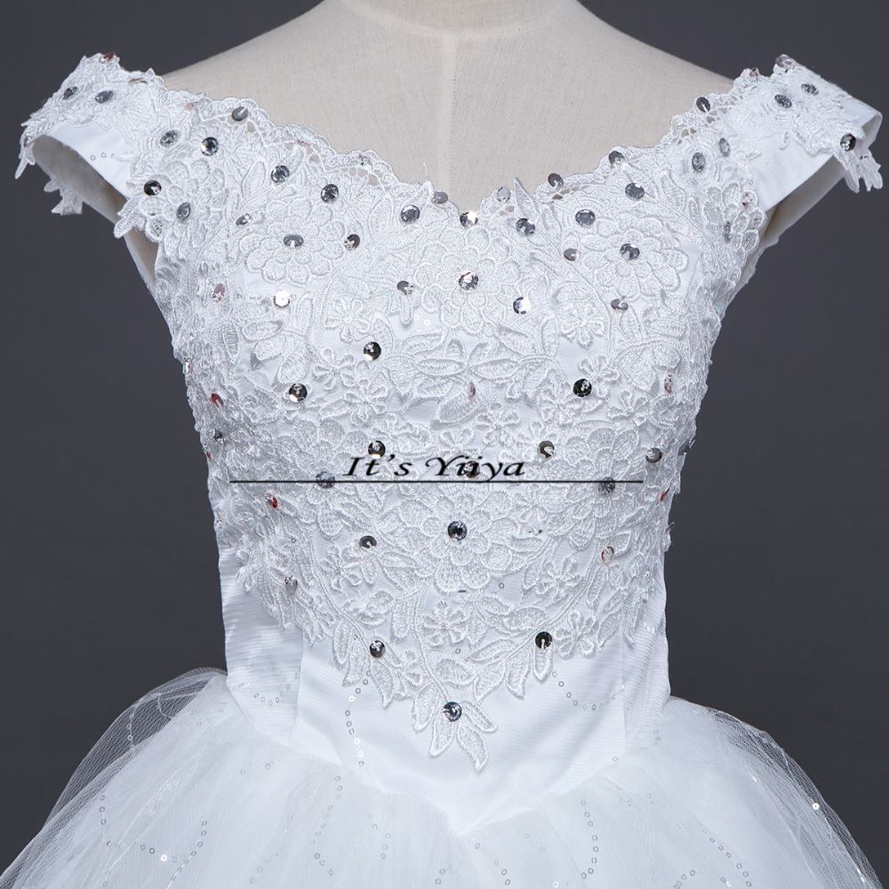 It\'s Yiiya 2017 Short Sleeves Red White Lace Bling Wedding Dresses ...