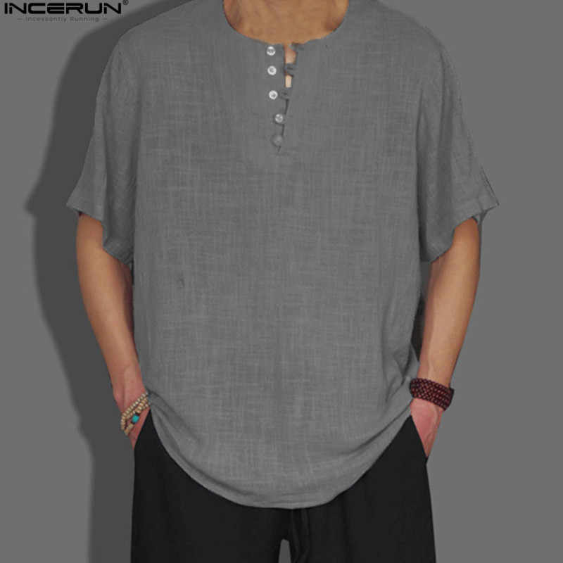 c3224dcb2bb INCERUN китайский Винтаж v-образным вырезом рубашки Для мужчин короткий  рукав Повседневная рубашка дышащий плюс