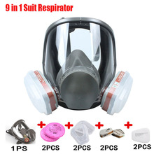 9 In 1 6800 Gas Mask Painting Spraying Safety Respirator Full Face sets with 6001 Filters and 2091