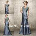 Graciosa a linha da luva do tampão de cetim applique mãe formal dos vestidos de noiva MQ013