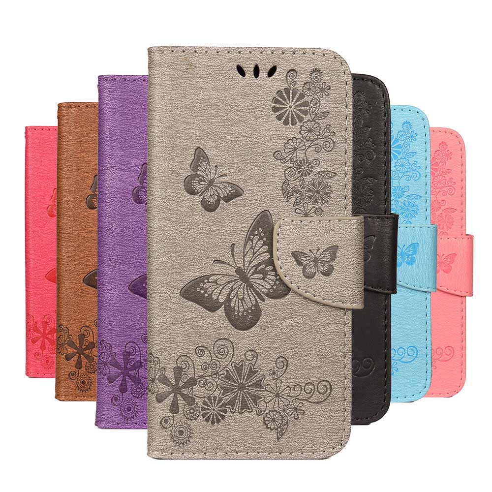 Butterfly <font><b>Flip</b></font> Cover For Huawei P30 Pro P20 P10 plus P9 P8 Lite Mini <font><b>Honor</b></font> 8X V10 Mate 10 9 8 5C 7C 7A <font><b>7S</b></font> Y5 Y6 Y5II Phone <font><b>Case</b></font> image