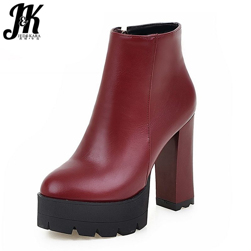 Large Size 34-43 Thick Platform High Heels Ankle Boots Women 2018 Hot Sale Shoes Woman All Match Solid Female Fall Winter Boots morazora fashion punk shoes woman tassel flock zipper thin heels shoes ankle boots for women large size boots 34 43