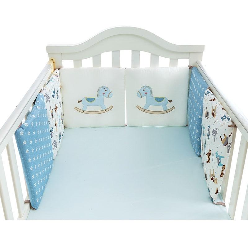 Nordic Kleine Houten Paard Ontwerp Pasgeboren Baby Bed Dikker Bumpers Crib Rond Kussen Cot Protector Kussens 6 Stks Pasgeborenen Kamer