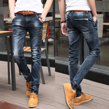 2015 Men's Jeans Slim Fit Straight Hots Jeans Famous Brand Fashion Frayed Pants, Casual Solid Pencil Pants Length Size:28-36