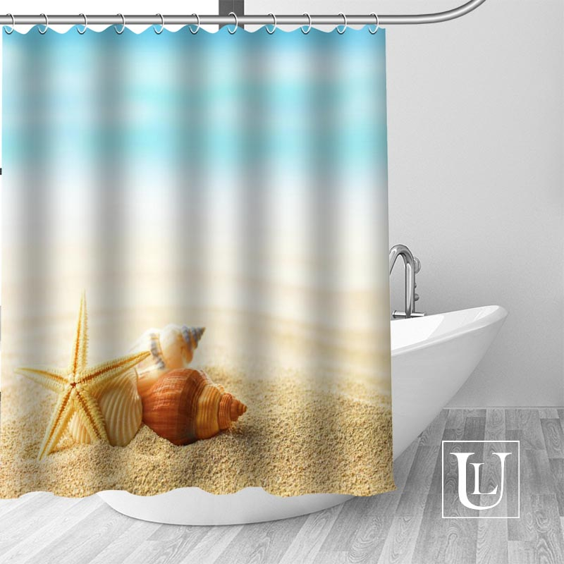 High Quality Custom Seashells Shower Curtain Polyester Fabric Bathroom Hooks Mildew Resistant Decor In Curtains From Home Garden