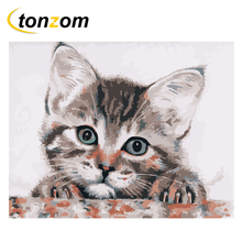 RIHE Lovely Cat Diy Painting By Numbers Animal Oil On Canvas Hand Painted Cuadros Decoracion Acrylic Paint Home Art