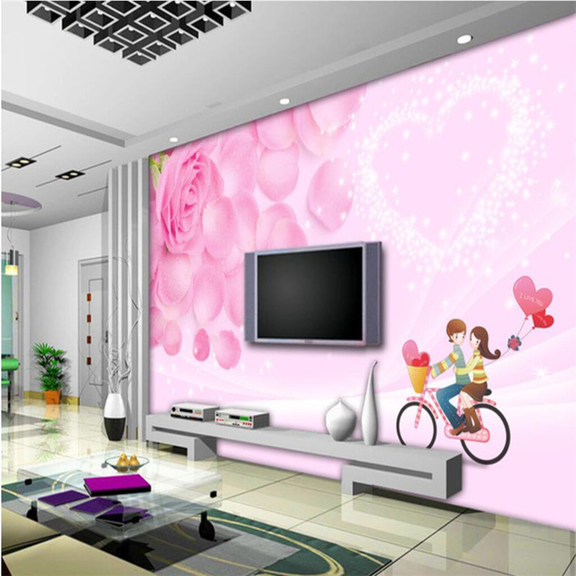 beibehang Customize any size mural wallpaper Fresh Pink Rose Petals ...