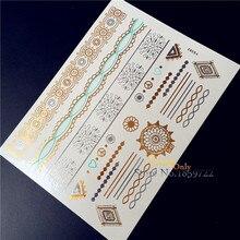 New gold silver metallic temporary tattoo stickers HYS-82 indian sun flower cute little pattern lace thin bracelets flash tattoo