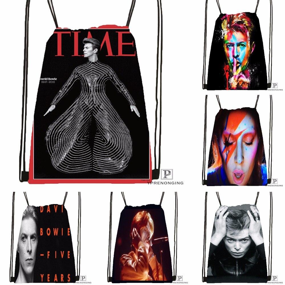 Custom David Bowie Drawstring Backpack Bag Cute Daypack Kids Satchel (Black Back) 31x40cm#180531-04-62