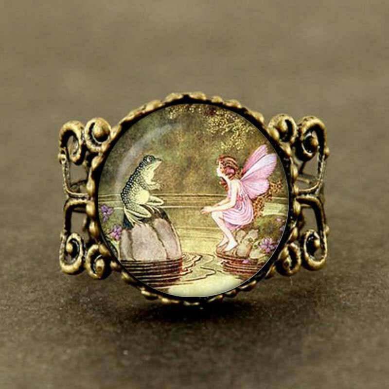 Novo artesanato colares fada do vintage e sapo anel anel de fadas sapo jóias colares e correntes feminino